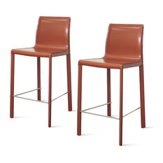 Gervin Recycled Leather Counter Chairs, Set of 2, Cordovan Red