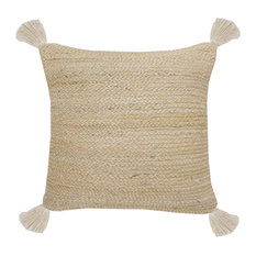Natural Jute Throw Pillow with Tassels