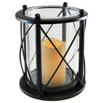 LumaBase - Round Criss Cross Metal Lantern with LED Candle, Black - Easily brighten up any special occasion or home décor by incorporating this metal hurricane style lantern into your design. With a faux flame resin candle, this lantern is safe to use indoor and out making it a versatile décor piece perfect for any event. Battery operated with a wireless illumination is perfect for centerpiece, coffee table or mantel.