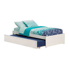 Concord Twin Platform Bed with Panel Foot Board and Twin Size Trundle in White
