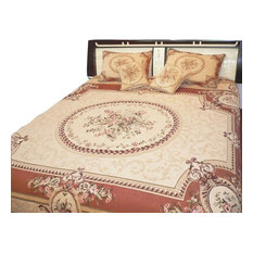 Clementine Chenille Woven Quilt Set, Orange and Tan, Twin