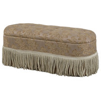 "18.5"" Beige Tufted Barocco Floral Storage Bench With Fringes"