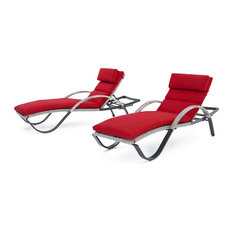 Cannes Chaise Outdoor Lounge Chairs, Set of 2 by RST Brands, Sunset Red