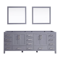 Jacques 84-inch Double Vanity No Top And 34-inch Mirrors Dark Grey