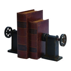 Woodland Imports - Old World Set of 2 Metal Bookends Black Library Office Home Accent Decor - Bookends