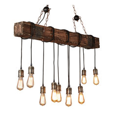 Farmhouse Style Dark Distressed Wood Beam Large Linear Island Pendant Light