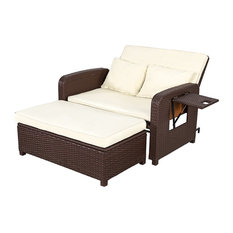2 Piece Patio Outdoor Wicker Rattan Love Seat Sofa Daybed Set with Ottoman