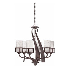 "Canyon Oak 28"" Wide Chandelier, Iron Gate"