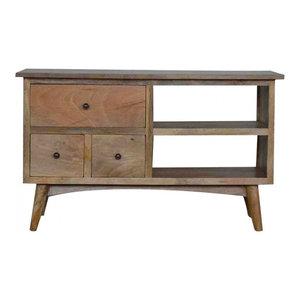 TV Stand With Drawers and Shelf, Oak Finish Mango Wood