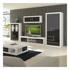 Verin TV 4-Piece Set With Armoire White Black Gloss