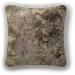 "Loloi - Loloi Decorative Throw Pillow Cover With Poly, Taupe, 22""x22"" - Tie-dyed fur on front cover and Faux fur on the back cover. 22""x22"". Made in China."