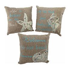 Zeckos Set Of 3 Beach Themed Accent Pillows 10 Nautical Seashell Decor Decorative