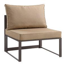 Fortuna Armless Outdoor Aluminum Sectional Sofa, Brown Mocha