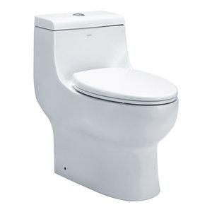 EAGO Dual Flush One Piece Elongated Ceramic Toilet