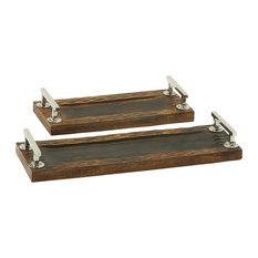 Dark Finish Wood Steel Tray, Set of 2