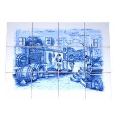 Delft Blue Wine Making Ceramic Tile Mural Backsplash, 12-Piece Set