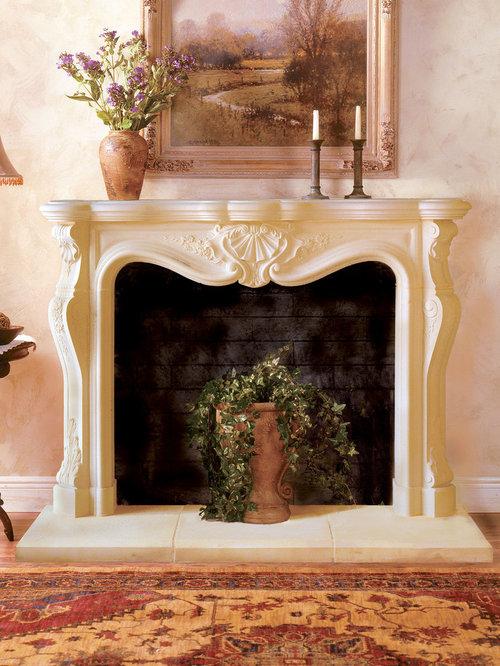 Calais Cast Stone Fireplace Mantel - Indoor Fireplaces - Cast Stone Fireplace Mantels