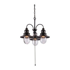 Broadcast 3-Light Outdoor Chandelier, Oil Rubbed Bronze Finish