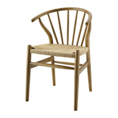 Modern Contemporary Urban Living Design Dining Room Side Chair, Wood, Natural