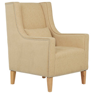 Leven Armchair With Footstool, Oatmeal