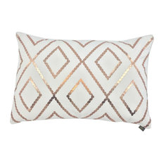 Bazar Metallic Cushion Cover, White and Bronze
