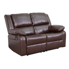 Leather Recline Loveseat, Brown