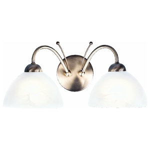 Milanese Traditional Double Wall Light With Alabaster Glass