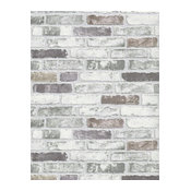 Modern Non-Woven Wallpaper For Accent Wall - White Gray Brick Wallpaper, Roll