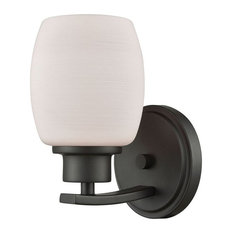 Casual Mission 1-Light Vanity, Oil Rubbed Bronze With Opal White Glass Shade