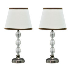 """40009, Two Pack Set ÔøΩ 17 1/2"""" High Crystal Glass Table Lamp, Pewter Finish"""