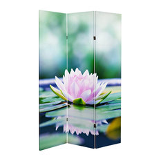 6' Tall Double Sided Lotus Blossom Canvas Room Divider