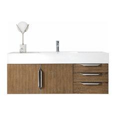 48 Inch Floating Bathroom Vanity Latte Oak Glossy White Top Modern Outlets