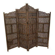 Benzara Inc Hand Carved Foldable 4 Panel Wooden Parion Screen Roomdivider