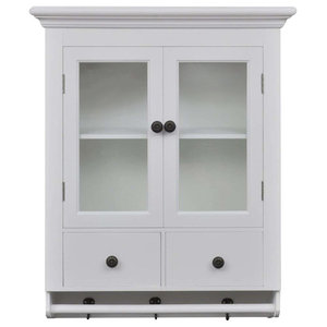 Traditional Wall Mounted Storage Cabinet, White Painted MDF With Glass Doors