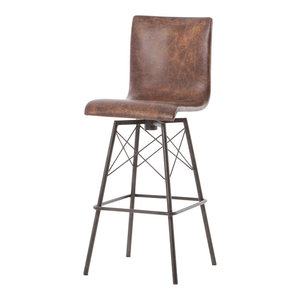 Diaw Industrial Iron and Distressed Leather Swivel Barstool