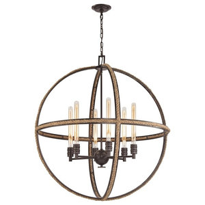 Natural Rope 6 Light Chandelier, Oil Rubbed Bronze