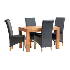 Santiago Light Mango 5-Piece Dining Table Set With Leather Chairs