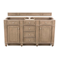 "Bristol 60"" Double Vanity White Washed Walnut - Base Cabinet Only"