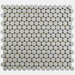 "SomerTile - 12""x12.63"" Penny Scholar Porcelain Mosaic Floor/Wall Tiles, Set of 10, Gray - Pieces Per Case: 10"
