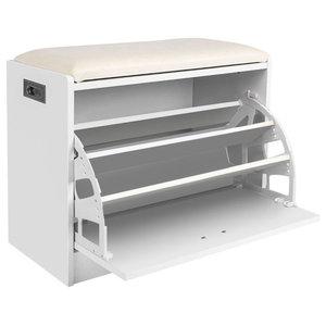 Modern Stylish Shoe Storage Cabinet, Solid Wood, Padded Cushioned Seat, White