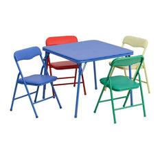 Flash Furniture 5 Pc Kids Folding Table Set In Blue