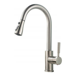 Modern Single Handle Kitchen Tap With Pull Down Swivel Sprayer, Brushed Nickel