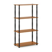 4-Tier Multipurpose Shelf Display Rack With Classic Tubes, Light Cherry/Black