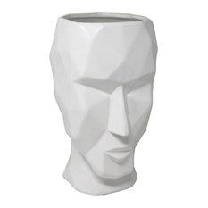 Sagebrook Home White Art Deco Face Vase