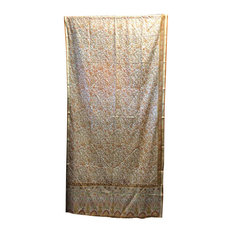 Mogul Interior - Ethnic Printed Silk Drapes Curtains, Yellow Beige - Curtains