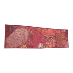 Mogul Interior - Consigned Antique Fabric, Moroccan Sari Maroon Patchwork Sequin Embroidered Tape - Table Runners