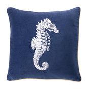"Seahorse Velvet Pillow, 18""x18"""