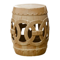 Abbyson Living Moroccan Ceramic Garden Stool, Antique Beige