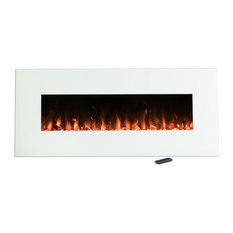 Electric Fireplace Mount, Color LED Flame & Remote, 50 in by Northwest, White