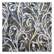 "Abstract Mosaic Art, Roman Floral, 31""x31"""